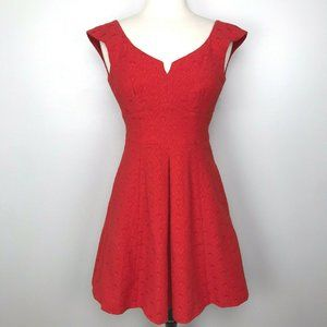 Nanette Lepore Lace Artisan Pique Flared Dress Red